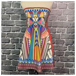 NWT Flying Tomato Scuba Geo Strapless Dress Sz L